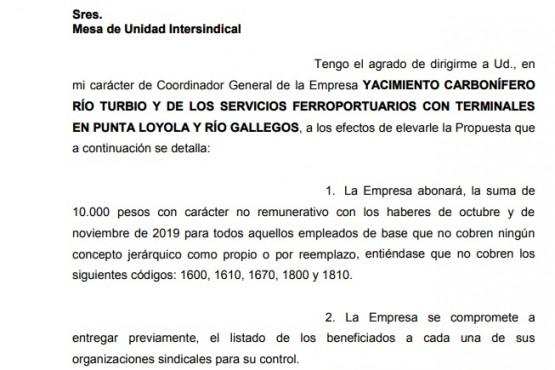 La propuesta de YCRT a la Mesa de Unidad Intersindical