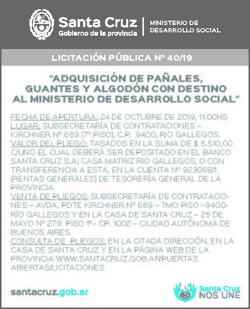 Licitación del Ministerio de Desarrollo