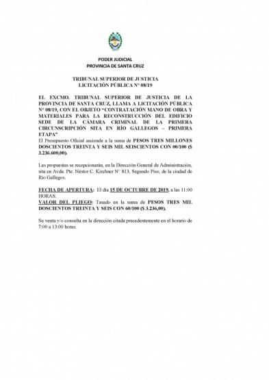 Licitación del Poder Judicial