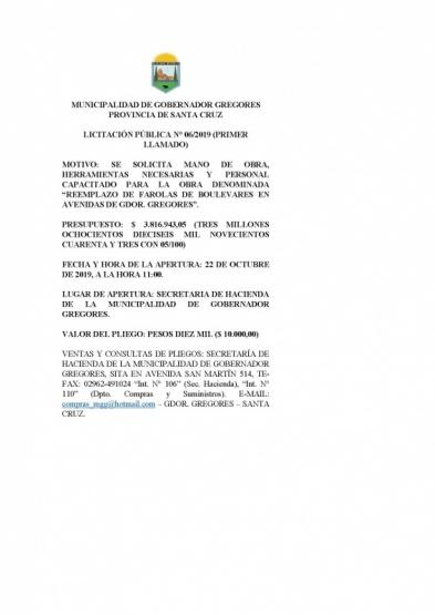 Licitación del municipio de Gobernador Gregores