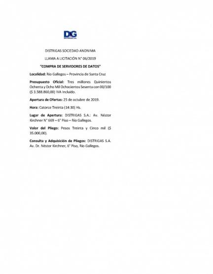 Licitación de Distrigas S.A