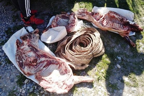 La carne fue secuestrada por el personal policial interviniente.