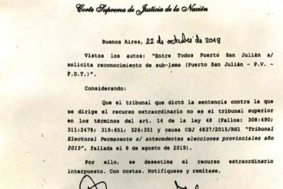 La Corte desestimó el recurso de Javier Castro para ser candidato a Intendente.