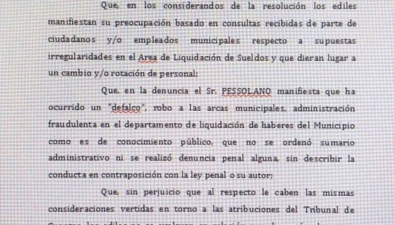 Resolución del fiscal Candia.