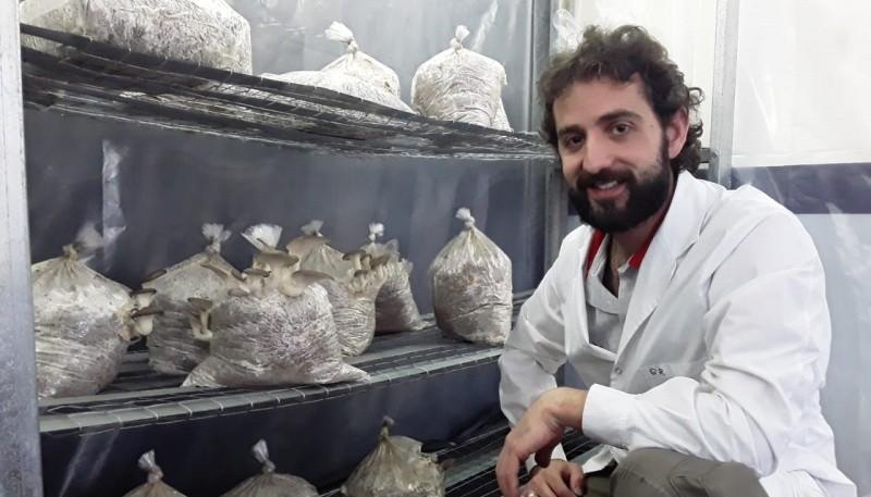 El biólogo junto a los hongos comestibles.