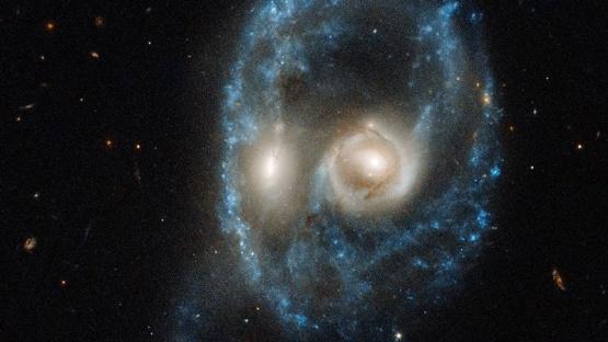 Colisionaron galaxias y formaron un rostro siniestro