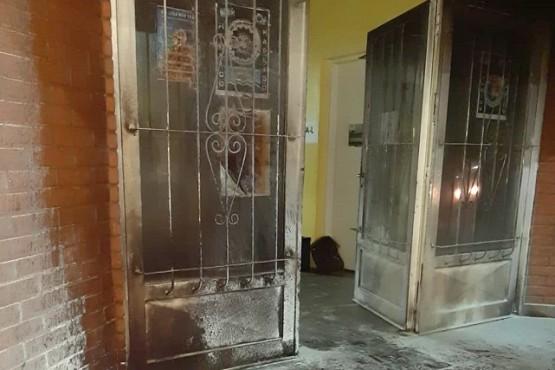 Estado en que terminó el frente del edificio del SOEM.