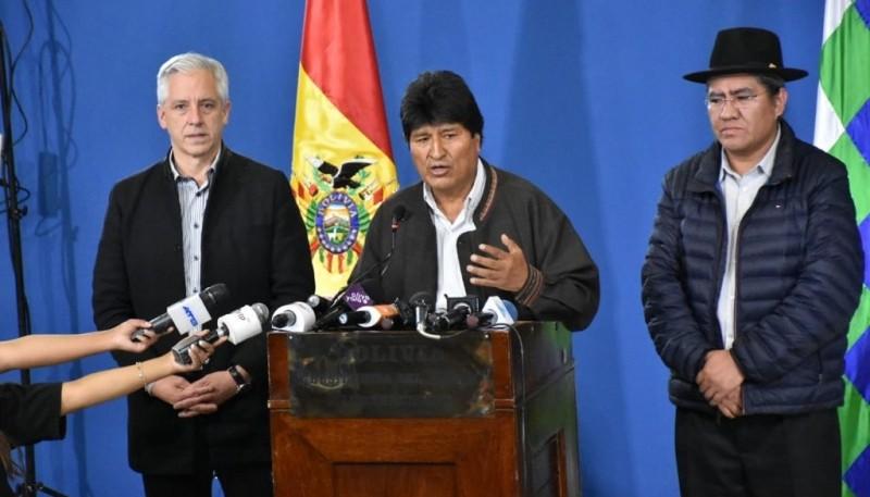Conferencia de prensa de Evo Morales.