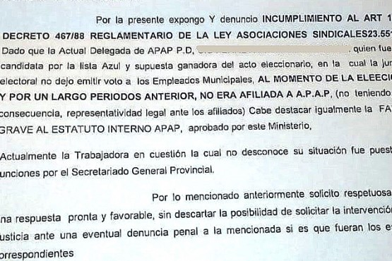 Nota presentada al Ministerio de Trabajo.