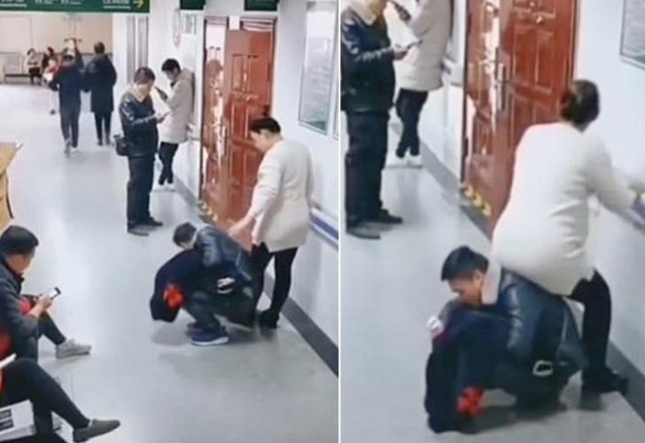Captura de video del momento en que el hombre hace de