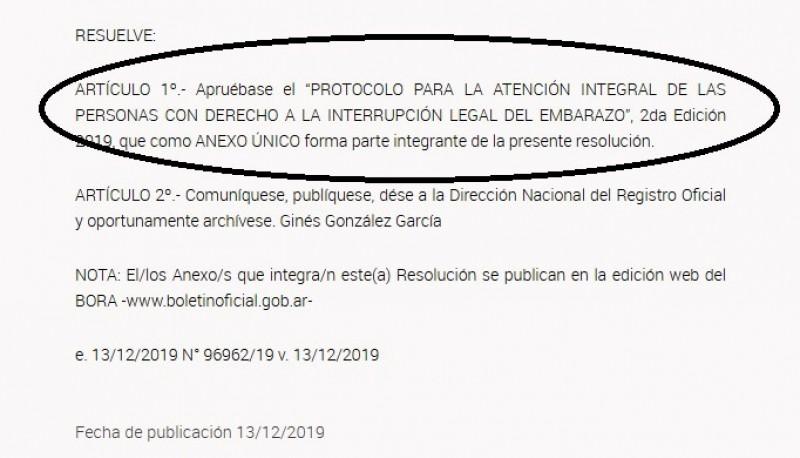 Resolución en el Boletín Oficial.