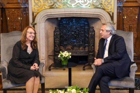 Alicia Kirchner junto al presidente Alberto Fernández.