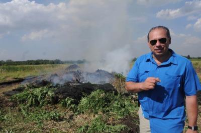 Berni en la quema de una plantación de marihuana en 2014.