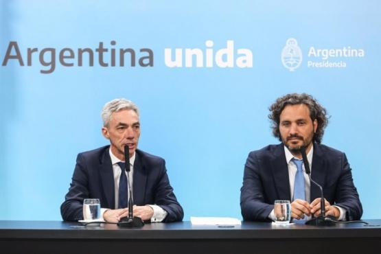 El jefe de Gabinete, Santiago Cafiero, y el ministro de Transporte, Mario Meoni,