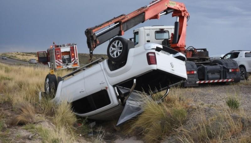 Impactante vuelco en cercanías de Madryn