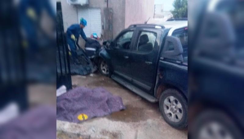 La camioneta tras el accidente.