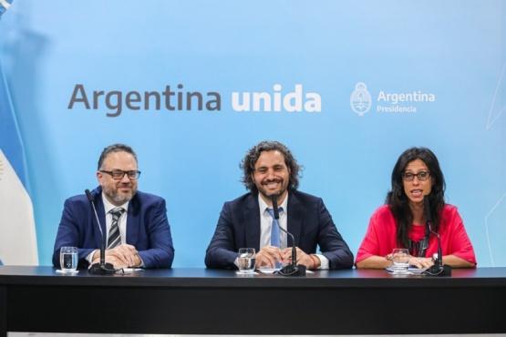 Jefe de Gabinete, Santiago Cafiero, el ministro de Desarrollo Productivo, Matías Kulfas, y la secretaria de Comercio Interior, Paula Español.