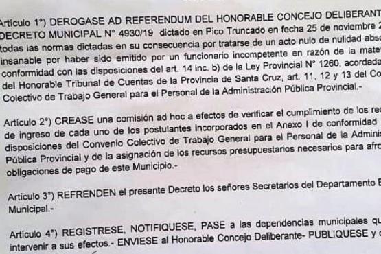 Decreto de Maimó que no fue aprobado en el recinto.
