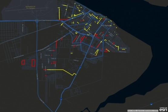 mapa de Río Gallegos con las calles que se encuentran anegadas.