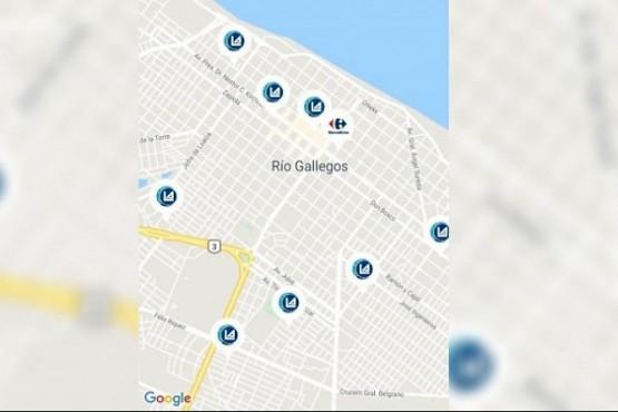 El mapa de las sucursales de los supermercados adheridos.