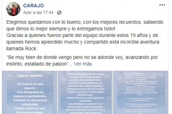 Carajo anunció su separación a través de Facebook.