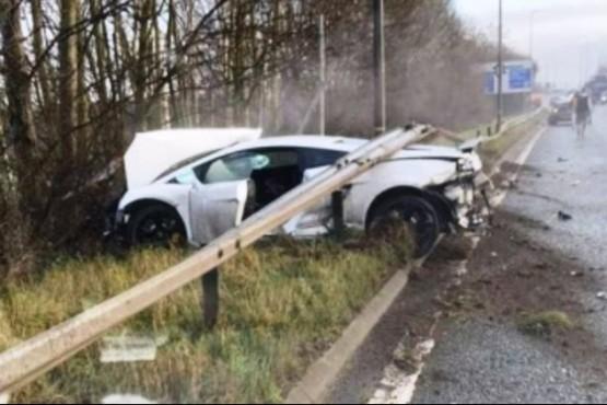 Así quedó la Lamborghini.
