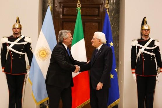 El presidente Alberto Fernández en la reunión en Italia.
