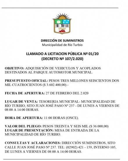 Llamado a Licitación Pública N° 01/20 - Río Turbio