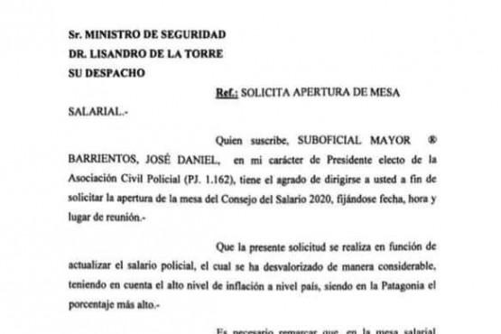 El escrito para el Ministro de Seguridad.