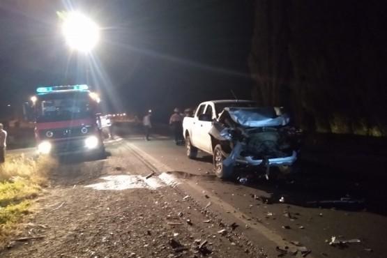 Una de las camionetas que protagonizó el accidente de tránsito.
