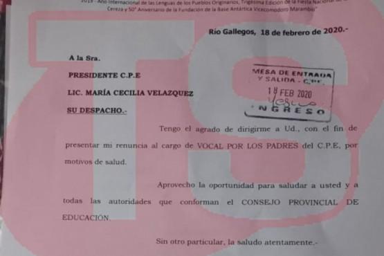La renuncia que presentó Piloñeta.