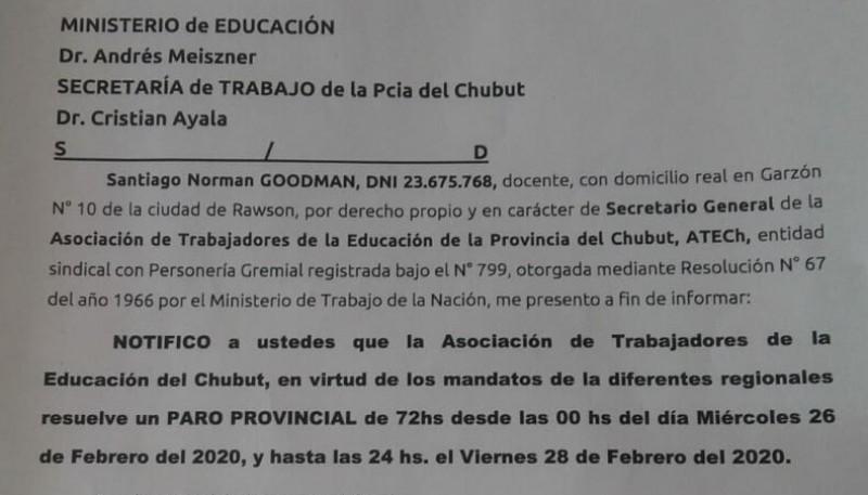La notificación sobre el paro docente en Chubut.