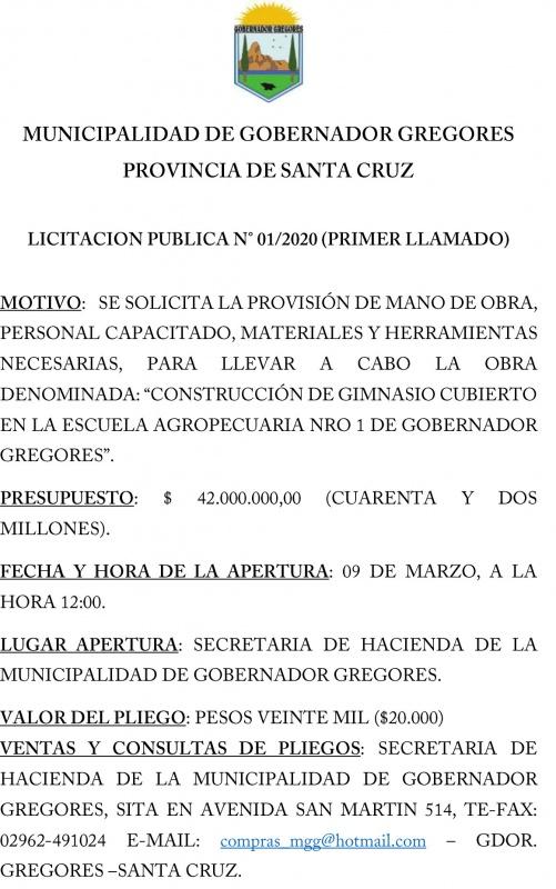 Llamado a licitación pública en Gobernador Gregores