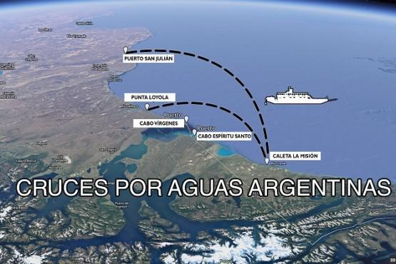 Cruces por aguas argentinas.