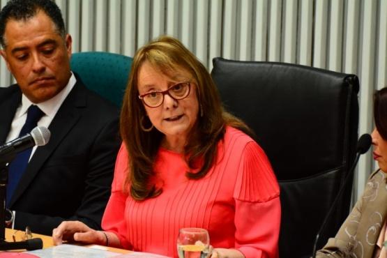 la gobernadora de Santa Cruz, Alicia Kirchner quien fue recibida por diputados y el vicegobernador. (Foto C.Robledo)