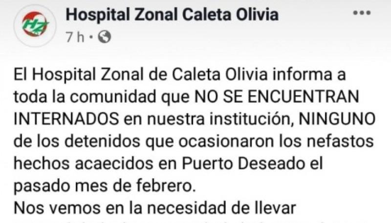Captura del comunicado emitido por el Hospital de Caleta Olivia.