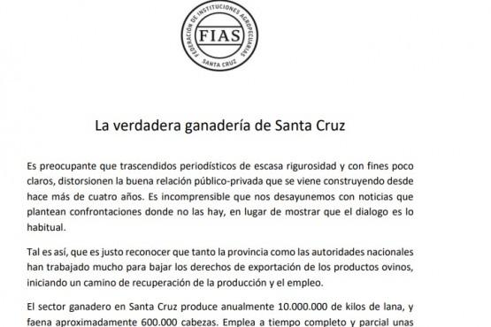 El comunicado de la FIAS.