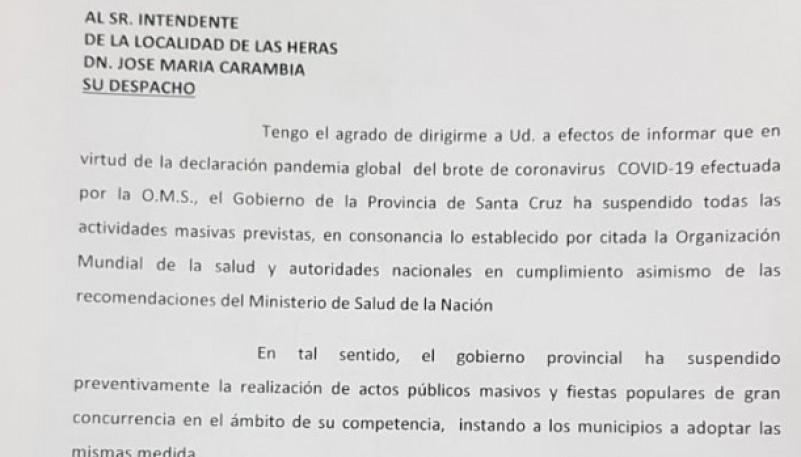 El texto enviado desde Fiscalía de Estado y entregado en el municipio hace instantes