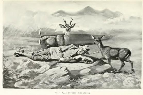 Dibujo de Prichard (1900) que ilustra la mansedumbre del huemul, una de las causas de su declinación temprana