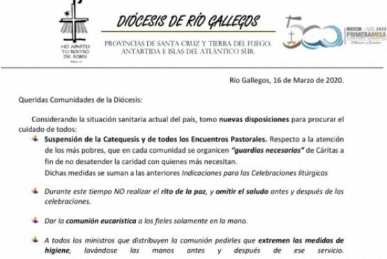La diócesis de Río Gallegos comunicó nuevas disposiciones ante el Coronavirus