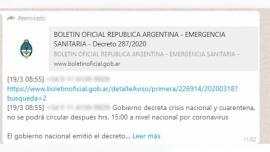 Investigan distribución de un falso decreto de cuarentena que circuló en redes sociales