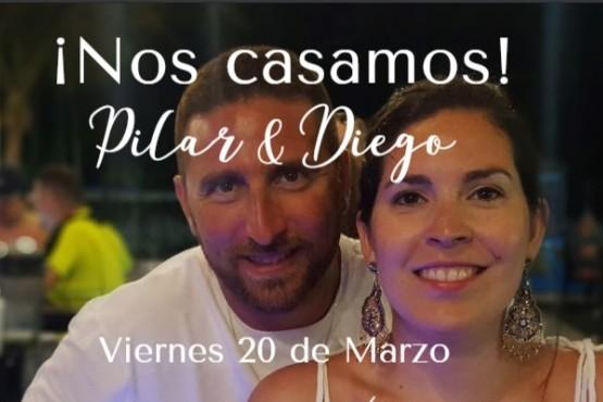 Los novios: Pilar y Diego.