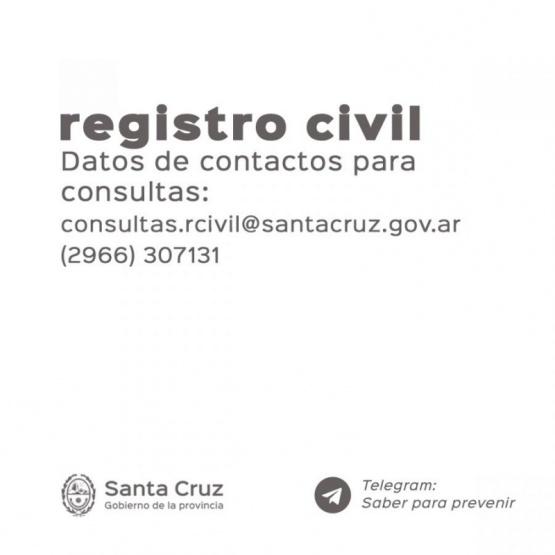 Datos de contacto del Registro Civil.