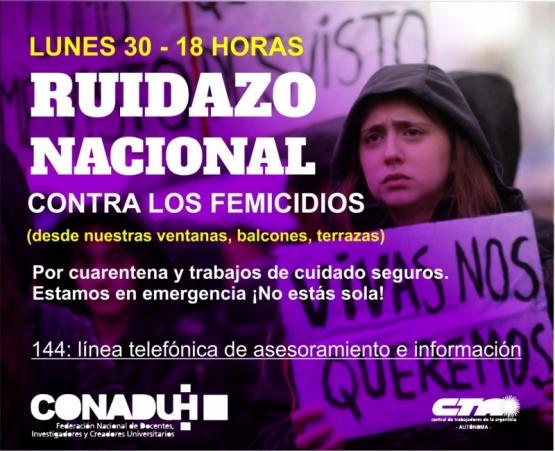 Ruidazo Nacional contra los femicidios.