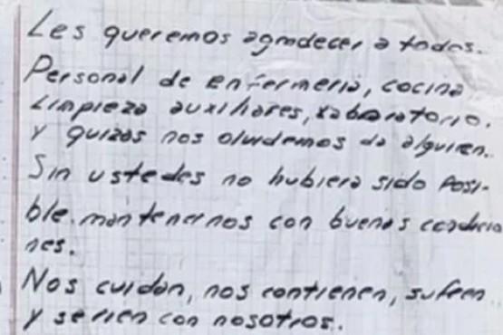 La emotiva carta de un paciente con coronavirus al personal de salud: