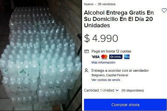Alcohol etílico que se vende por Mercado Libre.