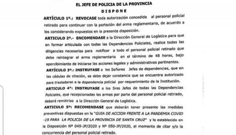 Extracto de la disposición con firma del Comisario General (R)José Luis Cortés.