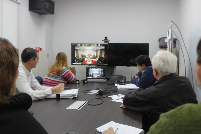 Videoconferencia entre directores de hospitales.