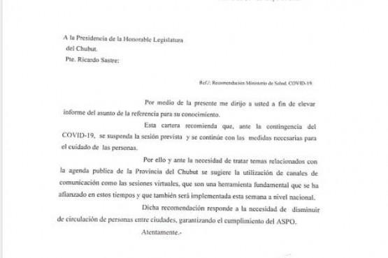 Nota del ministro de Salud a la Legislatura.