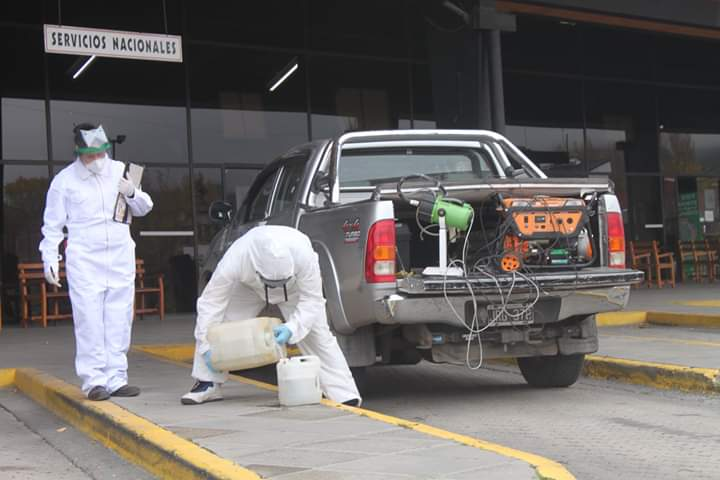 Se inició la desinfección de mercaderías en la terminal de ómnibus